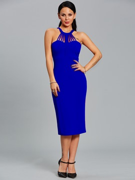 Ericdress Halter Design Sleeveless Plain Sheath Dress
