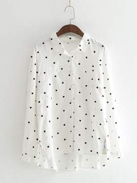 Ericdress Lapel Single-Breasted Polka Dots Blouse
