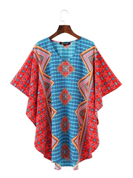 Ericdress V-Neck Ethnic Print Batwing Sleeve Women's Casual Dress