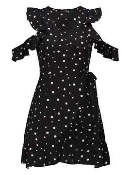 V-Neck Polka Dots Hollow Women's Day Dress