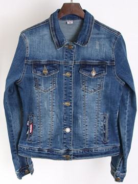 Ericdress Plain Single-Breasted Denim Jacket