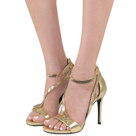 Ericdress Golden Zipper Open Toe Stiletto Sandals
