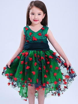 Ericdress Floral 3D Print Swallowtail Girls' Princess Dress