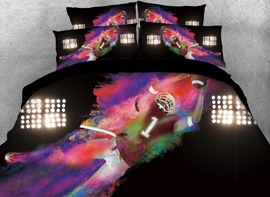 Vivilinen Fighting Rugby Player Printed 4-Piece 3D Bedding Sets/Duvet Cover