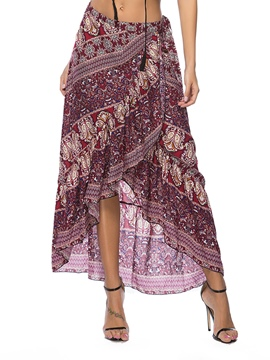 Ericdress Asymmetrical Print Women's Skirt