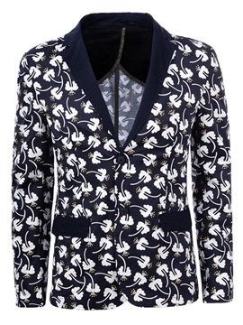 Ericdress Notched Lapel Floral Print Slim Men's Jacket Blazer