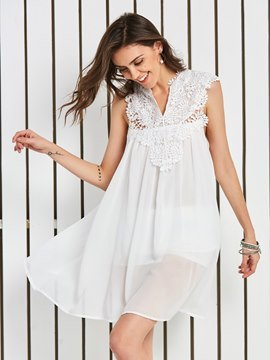 Ericdress V-Neck Lace Patchwork Vacation Women's Day Dress