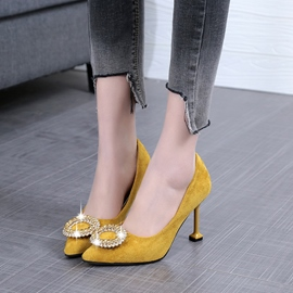 Ericdress Rhinestone Pointed Toe Spool Heel Women's Pumps