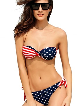 Ericdress Stars and Strips Print Bowknot Bikini Set
