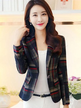 ericdress Slim-Button-Plaid-Blazer