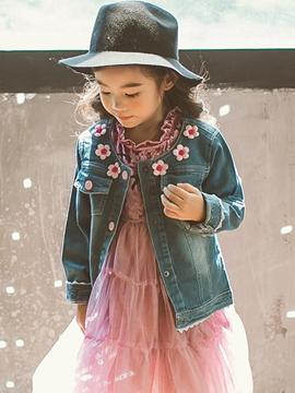 Ericdress Flower Embroidery Thin Girls' Denim Jacket