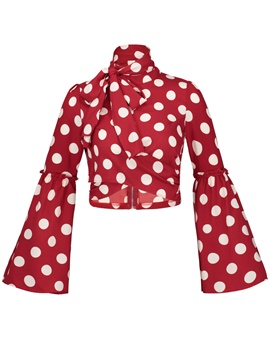 Ericdress Color Block Polka Dots Vacation Women's Blouse