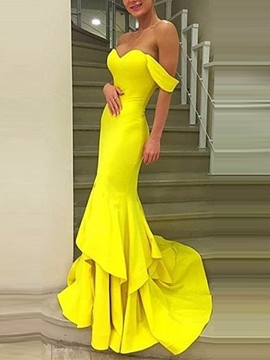 Ericdress Off-the-Shoulder Mermaid Court Train Evening Dress 2019