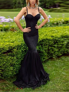 Ericdress Sexy Mermaid Spaghetti Straps Black Evening Dress
