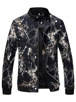 Ericdress Stand Collar Floral Print Men's Jacket Coat