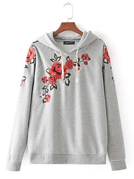 Ericdress Casual Floral Embroidery Cool Hoodie