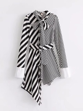 Ericdress Bow Collar Stripe Patchwork Asym Women's Casual Dress
