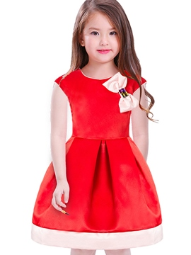 Ericdress Plain Bowknot Sleeveless Girls' Princess Dress