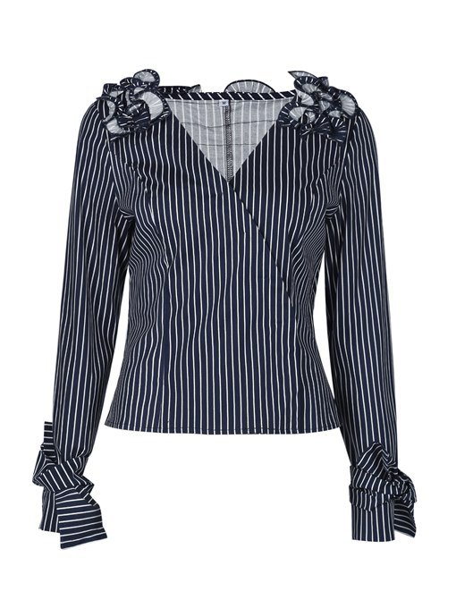 Ericdress Slim V-Neck Stripe Pleated Womens Top