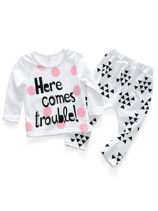 Ericdress Letter Print Cotton T-Shirt & Pant Baby Girl's Outfit