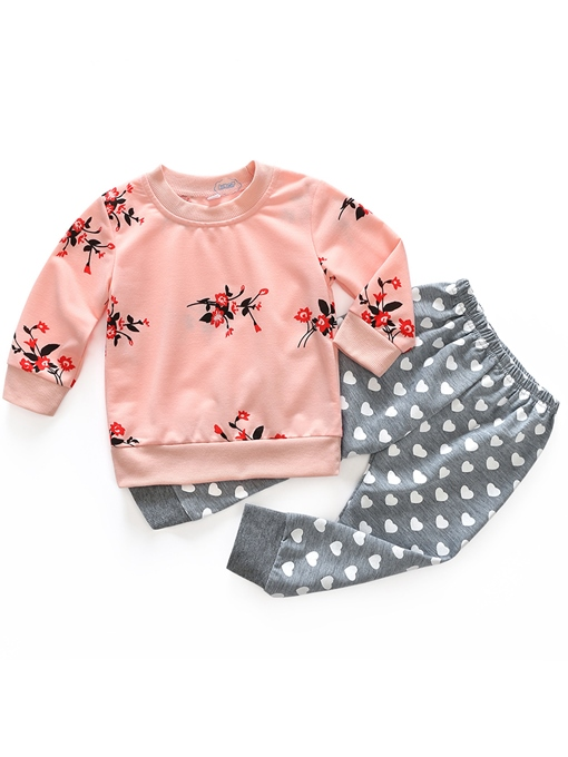 Ericdress Floral Heart Shape Print Baby Girls' Outfit