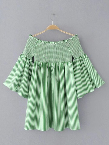 Ericdress Slash Neck Pleated Backless Stripe Flare Sleeve Blouse