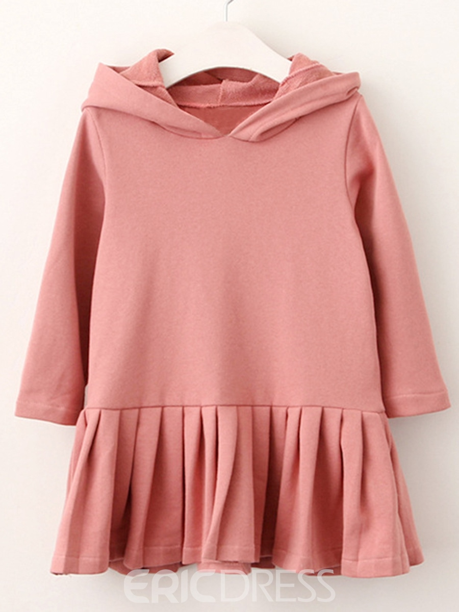 Ericdress Rabbit Ears Hooded Pleated Girls' Dress