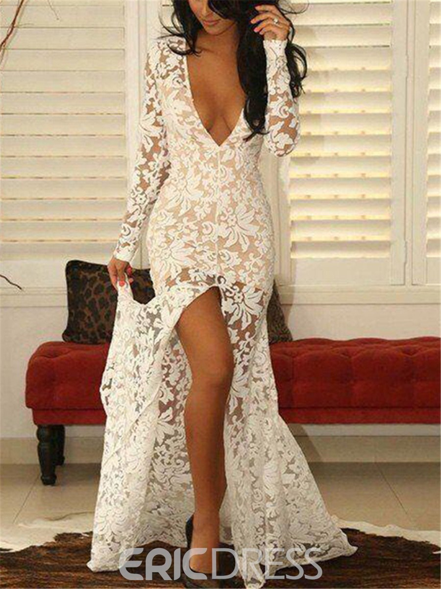 Ericdress Deep V-Neck Split-Front Long Sleeves Lace Evening Dress