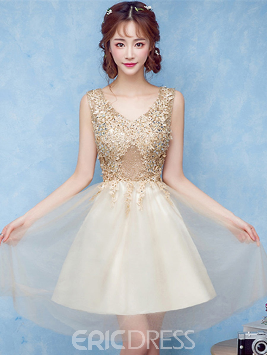 Ericdress A-Line V-Neck Appliques Beading Crystal Short Homecoming Dress
