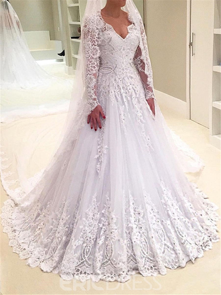 Ericdress A Line Long Sleeves Lace V Neck Wedding Dress 12799064 ...