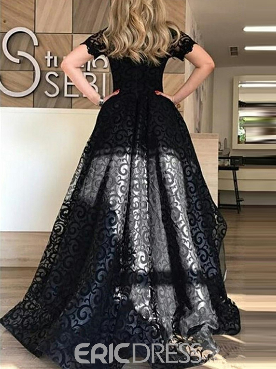 Ericdress Short Sleeves High Low Black Lace Evening Dress