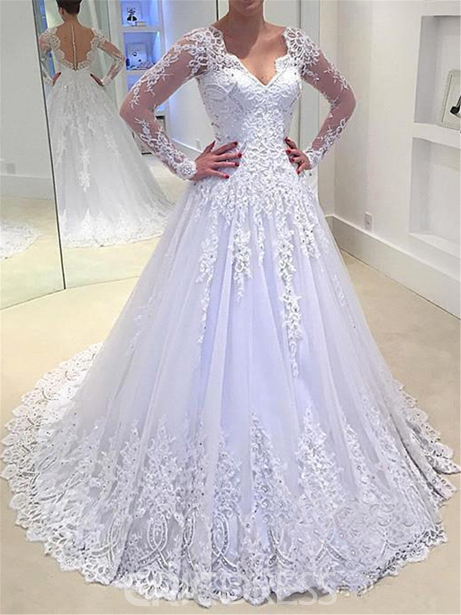 Ericdress A Line Long Sleeves Lace V Neck Wedding Dress
