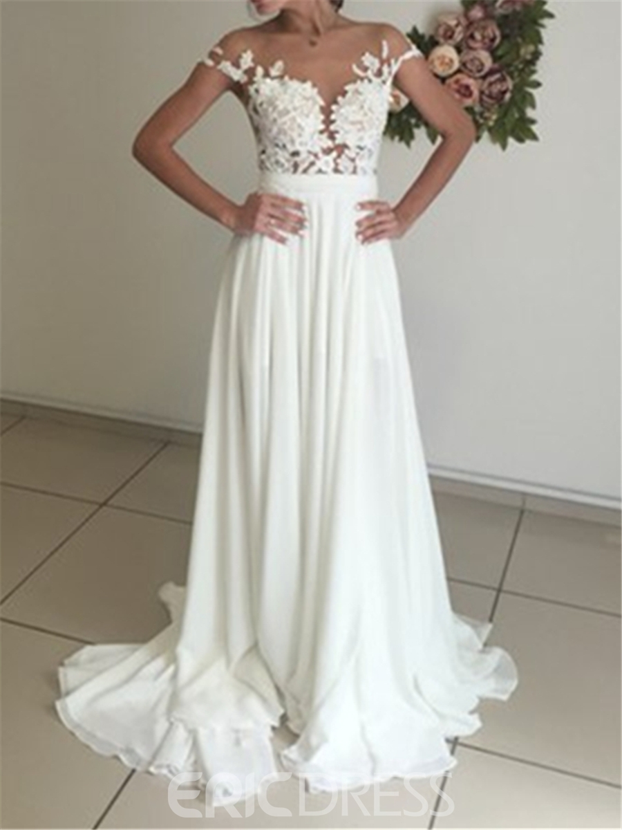Ericdress Illusion Neck Lace Chiffon Wedding Dress