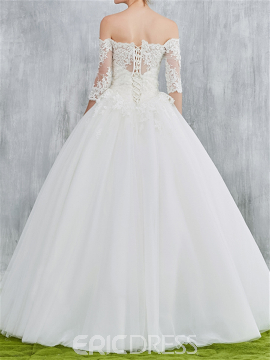 Ericdress Off Shoulder Ball Gown Wedding Dress with Half Sleeves