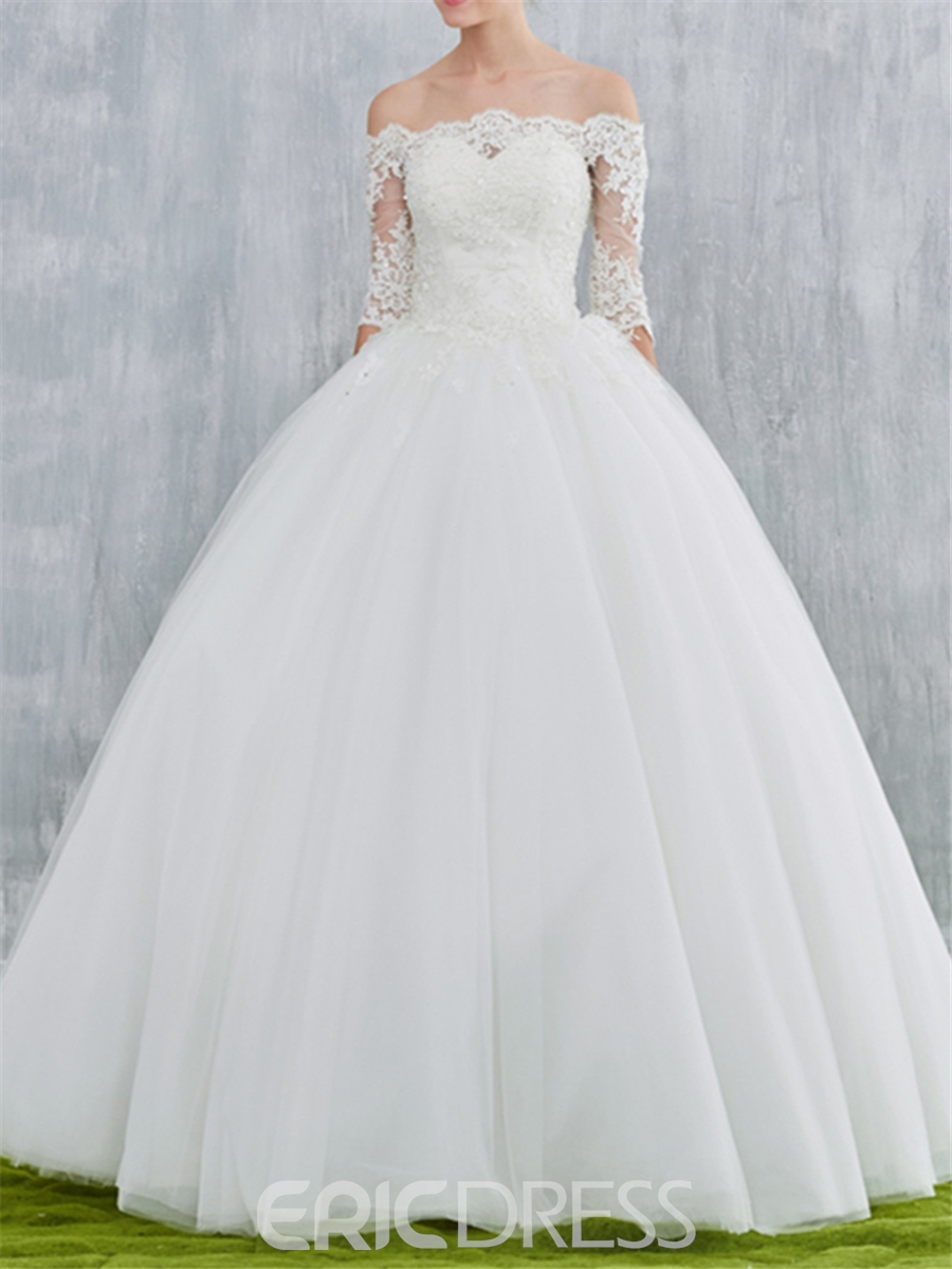 Ericdress Off Shoulder Ball Gown Wedding Dress with Half Sleeves ...