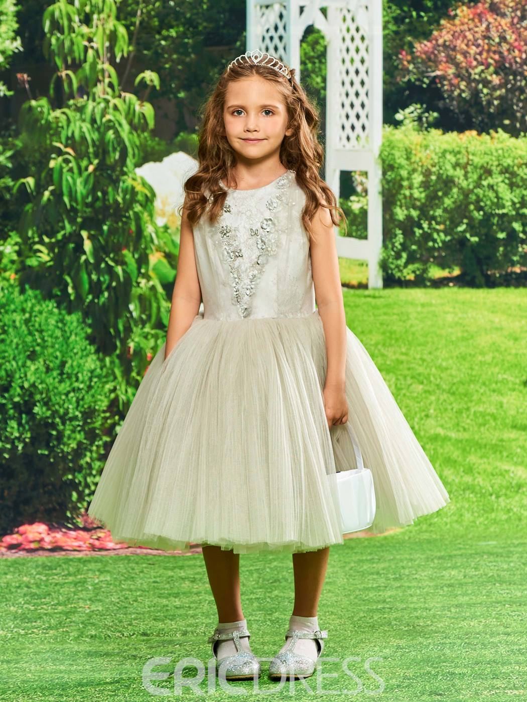 40f2ed30cd1 Ericdress Ball Gown Tea Length Flower Girl Party Dress 13143354 ...