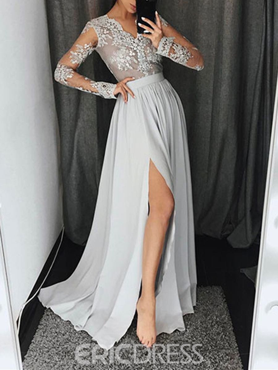 Ericdress A-Line Long Sleeves Appliques Split-Front Sweep Train Evening Dress