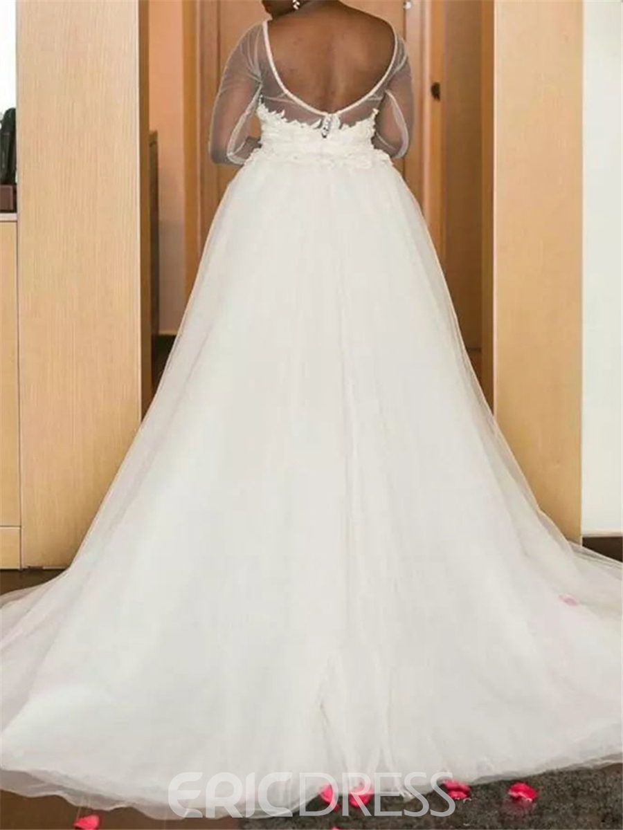 Ericdress Lace Long Sleeves Hi-Lo Knee Length Wedding Dress with Train