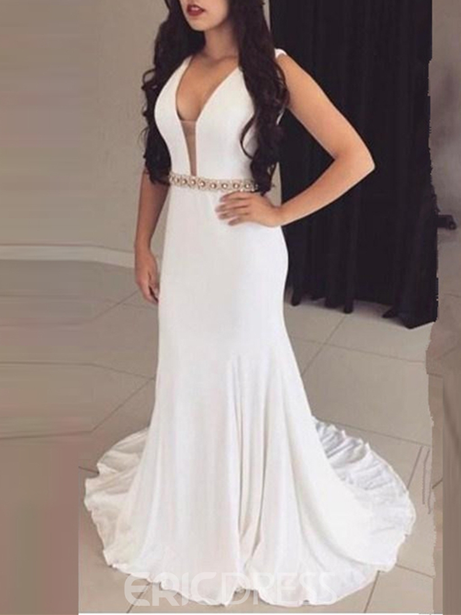 Ericdress Sheath V Neck Beaded Backless Evening Dress With Court Train