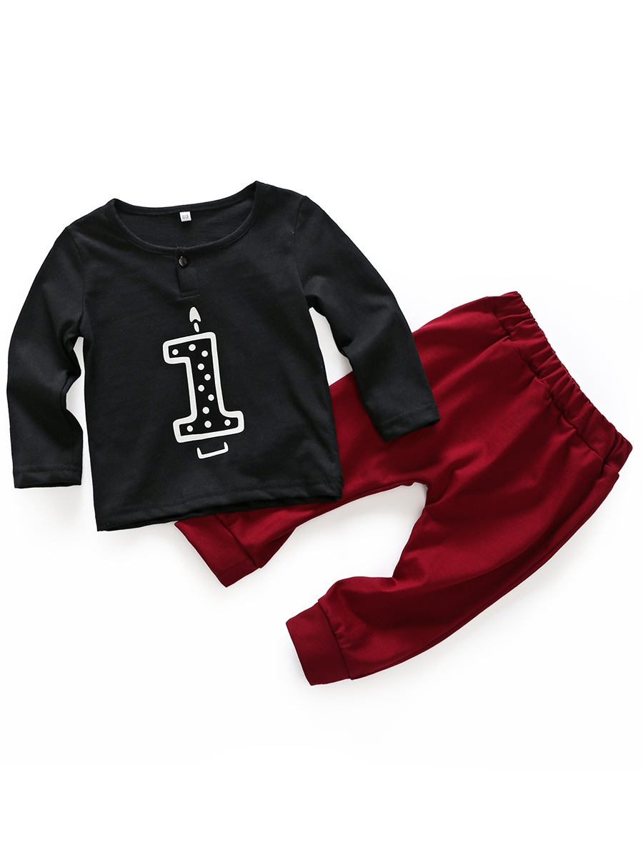 Ericdress Number Print Unisex Baby Boys' Outfit