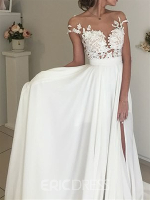 Ericdress Illusion Neck Lace Beach Wedding Dress