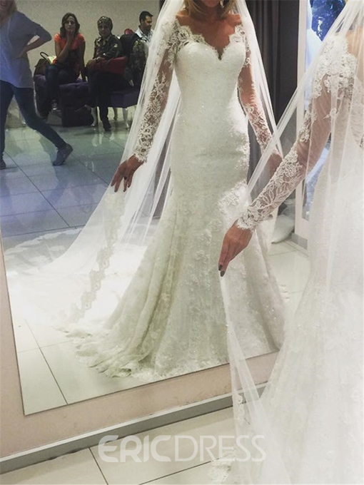 Ericdress Long Sleeves Mermaid Lace Backless Wedding Dress