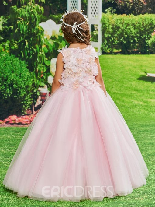 Ericdress Ball Gown Flowers Pearls Girl's Party Dress