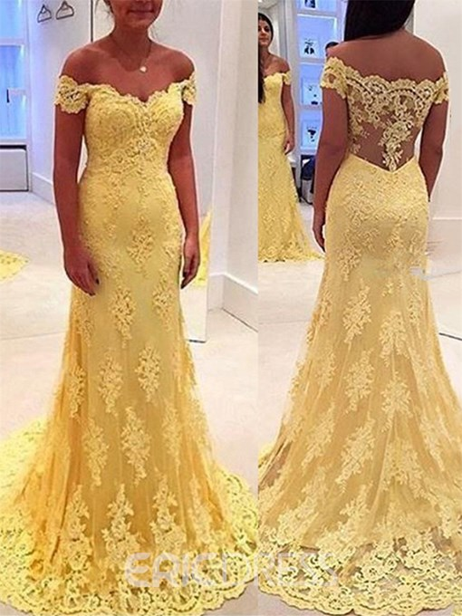 Ericdress Off-the-Shoulder Mermaid Lace Court Train Evening Dress