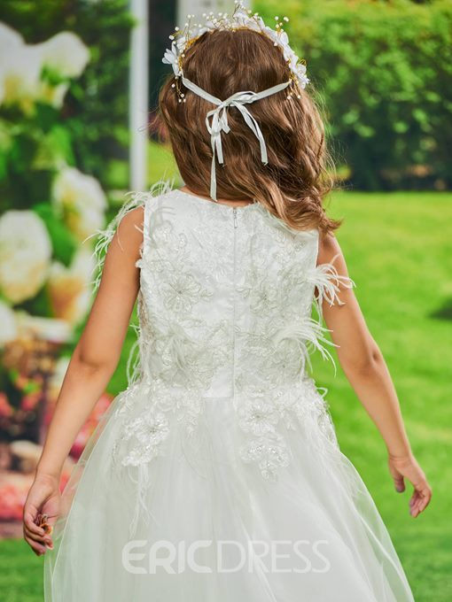 Ericdress Tulle Appliques Ball Gown Flower Girl Dress