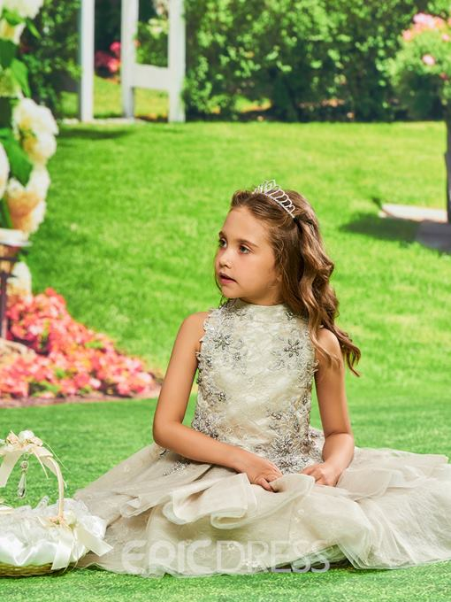 Ericdress Lace Beaded Knee Length Flower Girl Party Dress