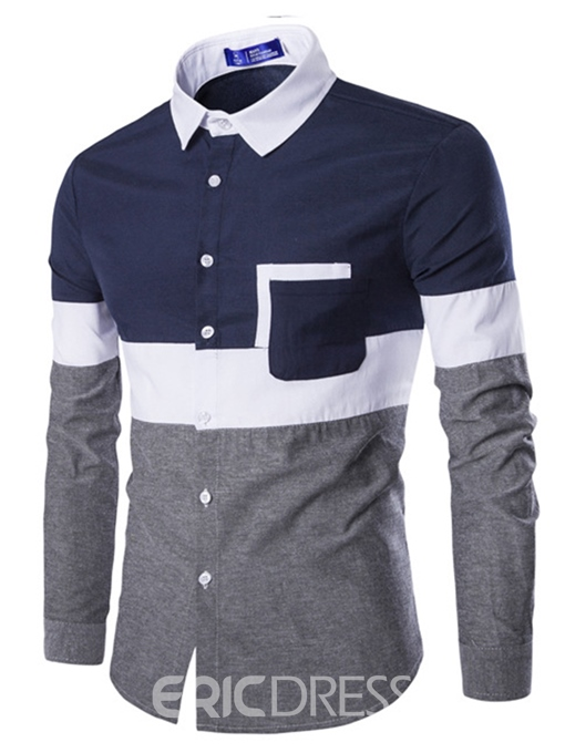 Ericdress Color Block Patchwork Mens Lapel Slim Shirt