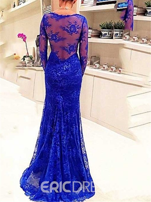 Ericdress V-Neck Long Sleeves Mermaid Lace Evening Dress