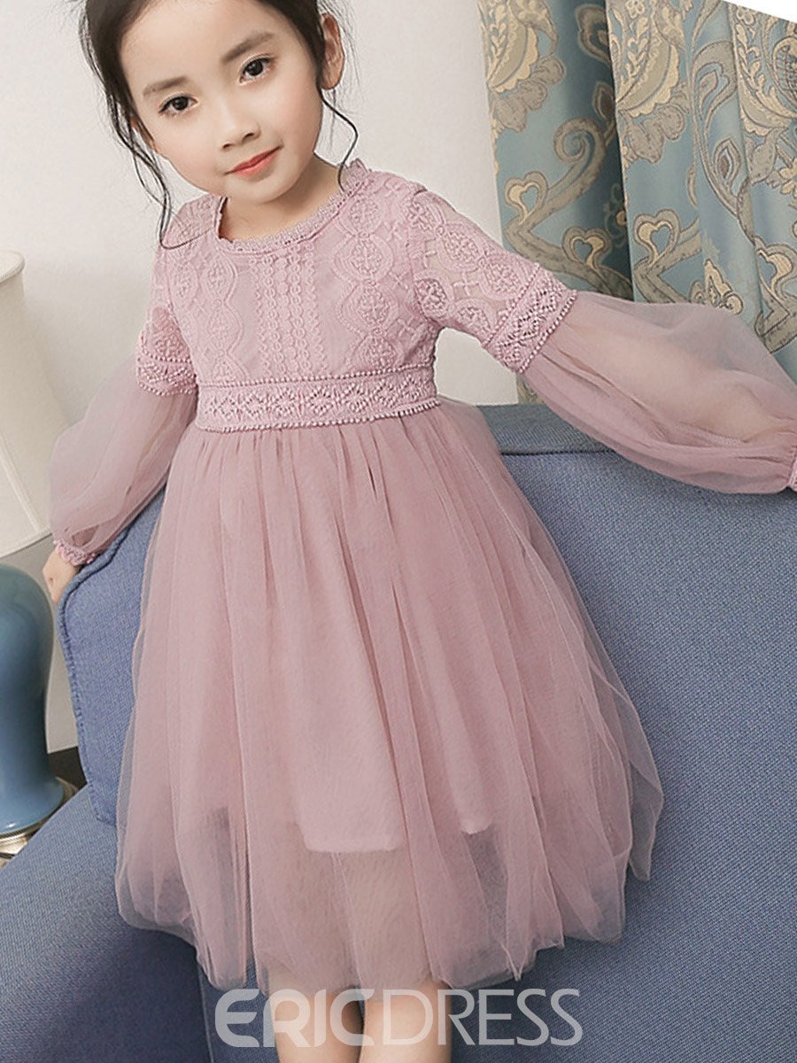 Ericdress Lantern Sleeve High-Waist Girl's Dress