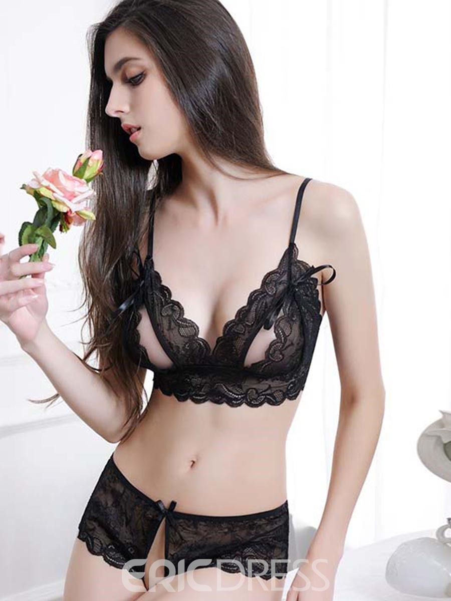 57a00719258 Ericdress Cut-Out Black Strappy Lace Bra Set 13145040 - Ericdress.com